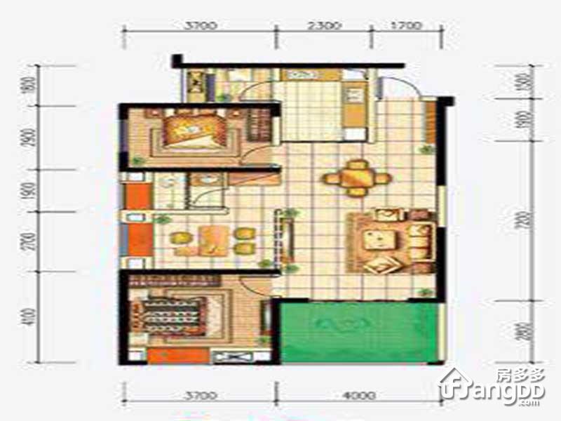 首钢贵州之光3室2厅1卫户型图