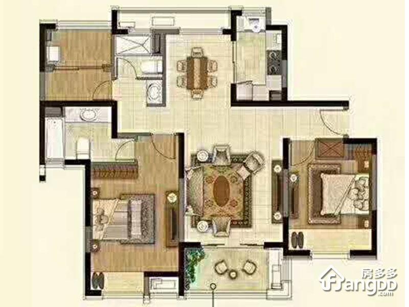 B户型 3室2厅2卫115㎡