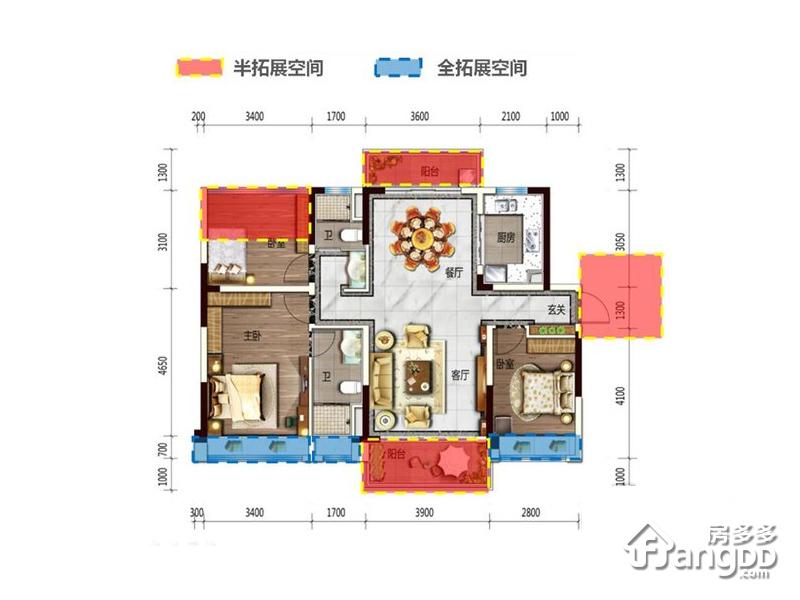 碧桂园湖光山色3室2厅2卫户型图