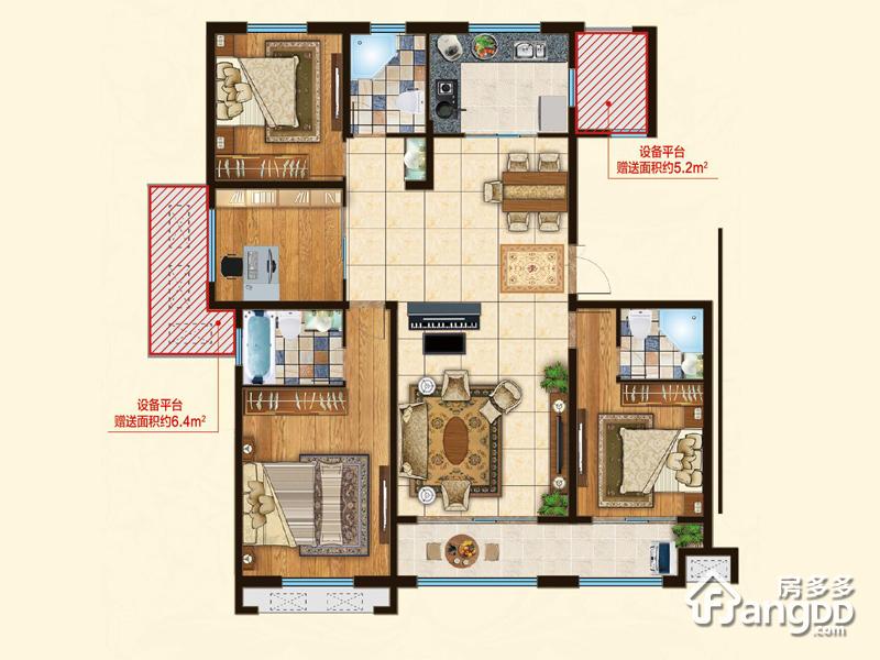 上城国际4室2厅3卫户型图