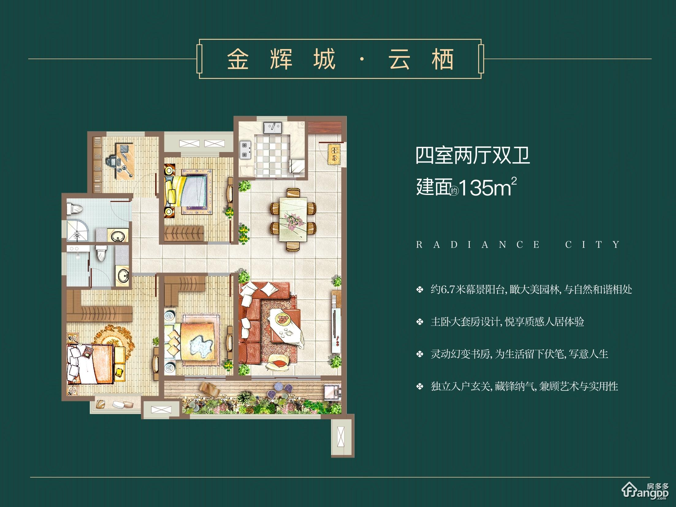 金辉城4室2厅2卫户型图
