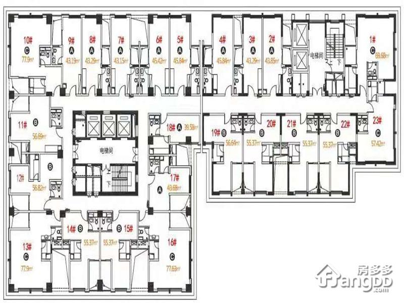 德成·都汇君泊2室2厅1卫户型图