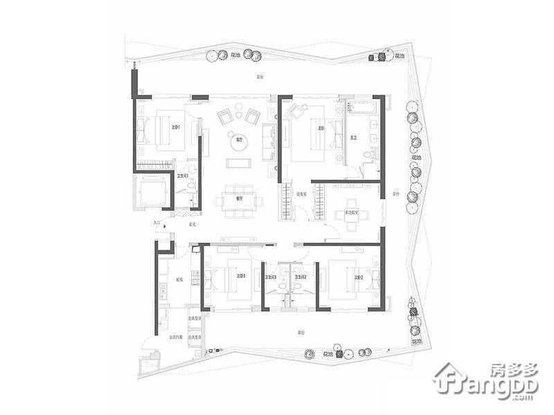 复地鹿岛5室2厅4卫户型图