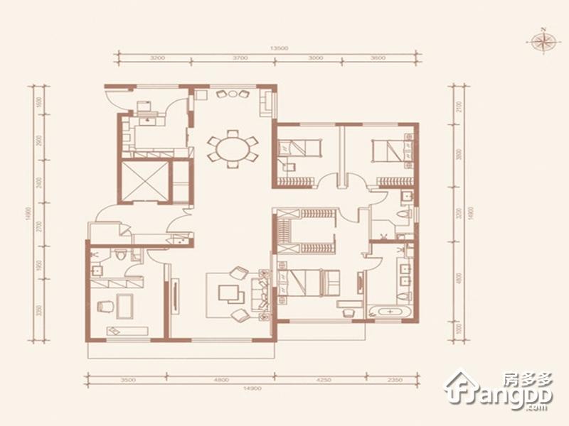 首创天阅西山4室2厅3卫户型图