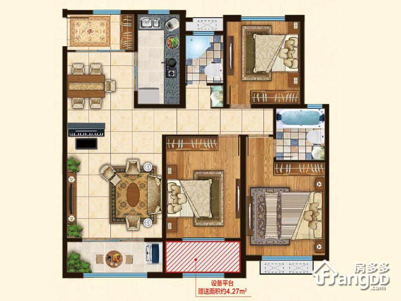 上城国际3室2厅2卫户型图
