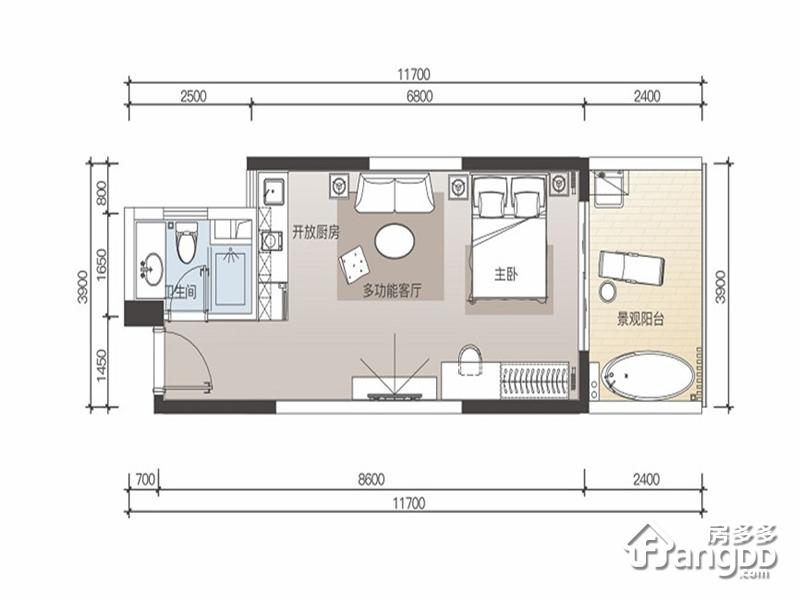佳兆业山海湾项目1室1厅1卫户型图