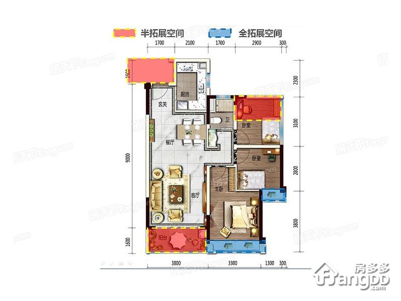 碧桂园湖光山色3室2厅1卫户型图