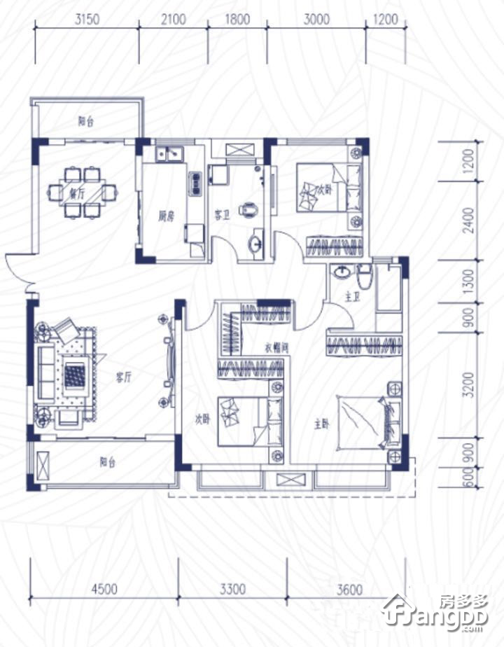 中铁逸都国际3室2厅2卫户型图