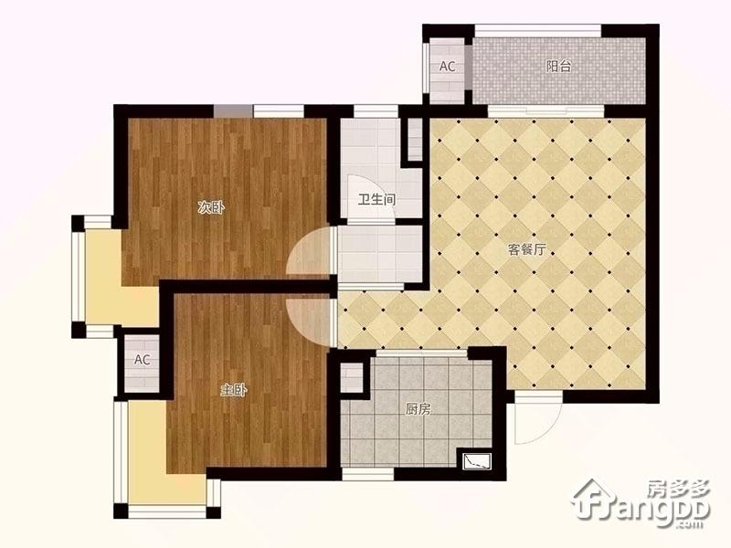 A户型 2室2厅1卫72.91㎡