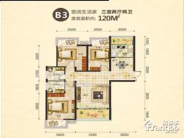 尚上名筑3室2厅2卫户型图