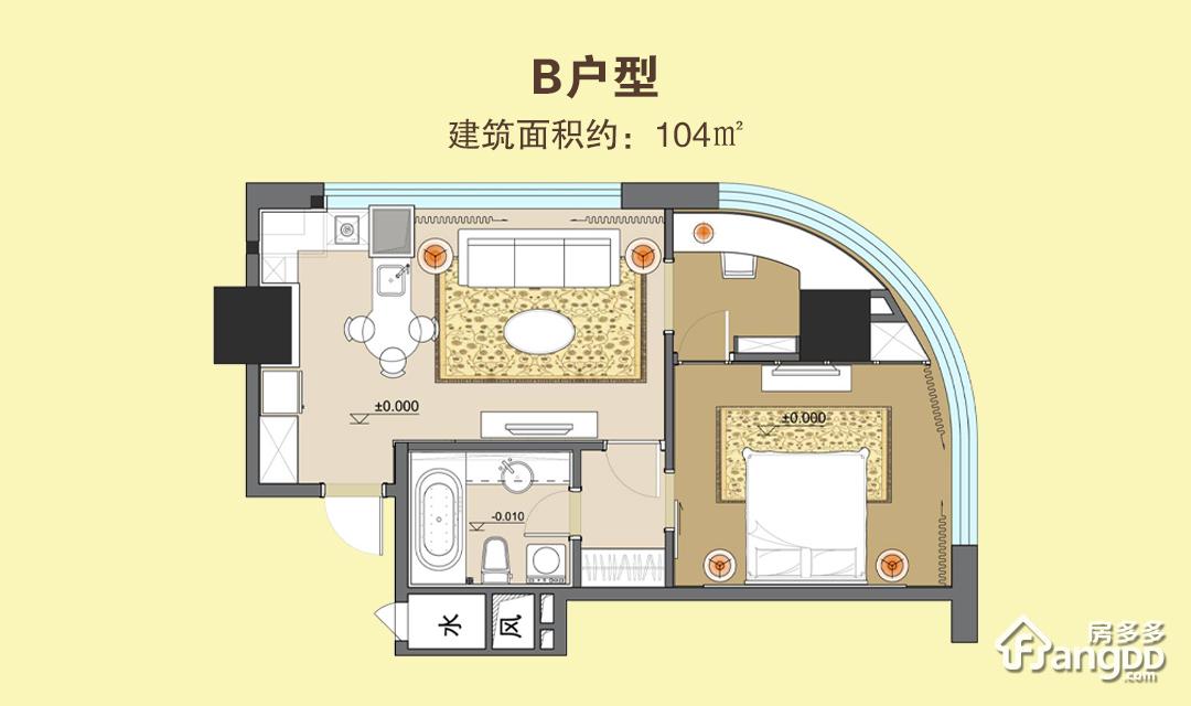 财富天河之都2室1厅1卫户型图