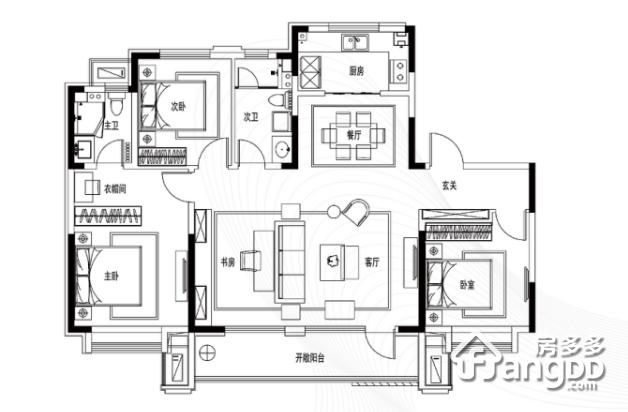 世茂公园美地3室2厅2卫户型图