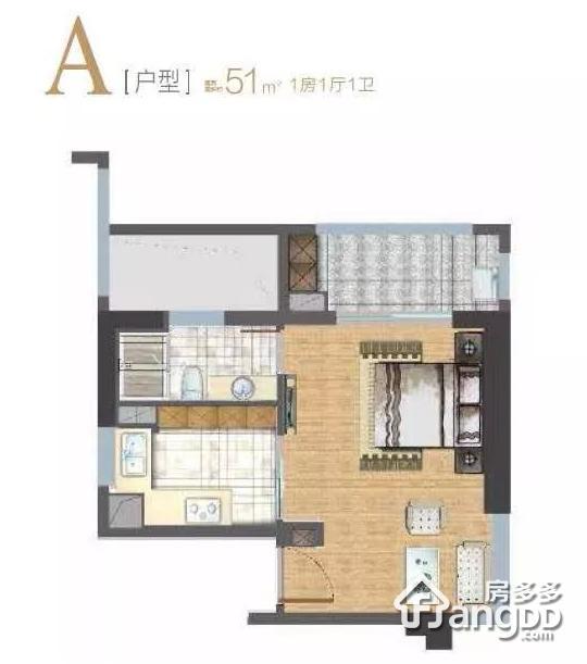 东方悦耀1室1厅1卫户型图