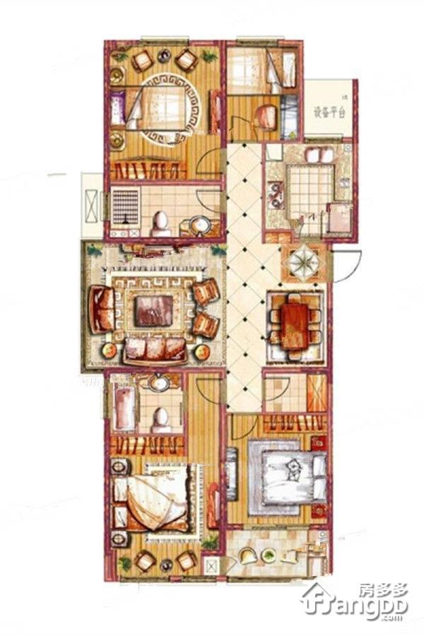 绿地香奈4室2厅2卫户型图