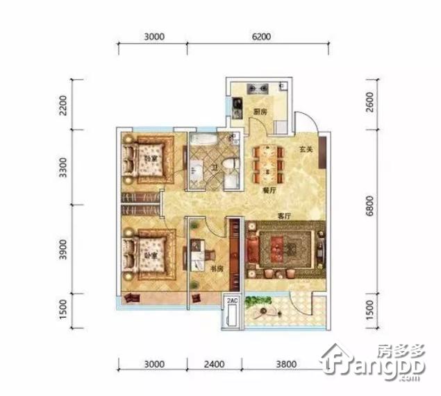 大众湖滨公园壹号3室2厅1卫户型图
