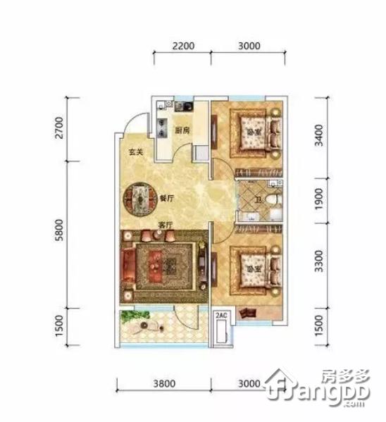 大众湖滨公园壹号2室2厅1卫户型图