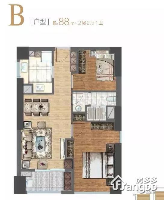 东方悦耀2室2厅1卫户型图