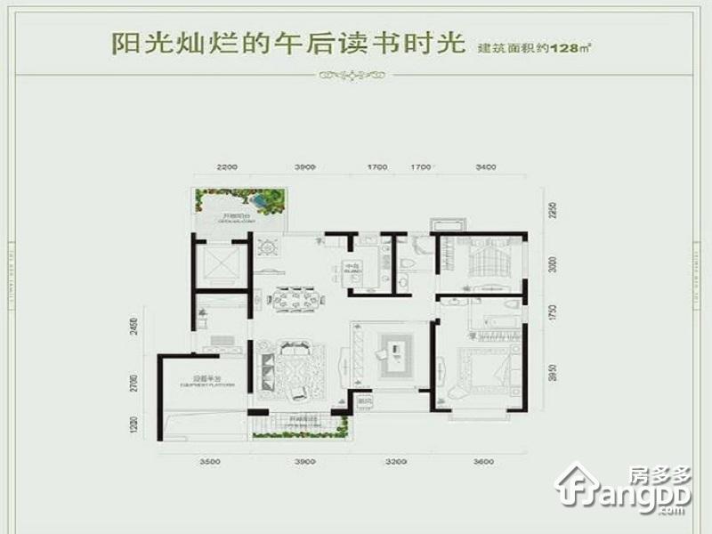 经典温哥华3室2厅1卫户型图