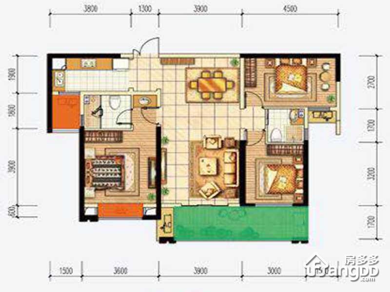 首钢贵州之光3室2厅2卫户型图