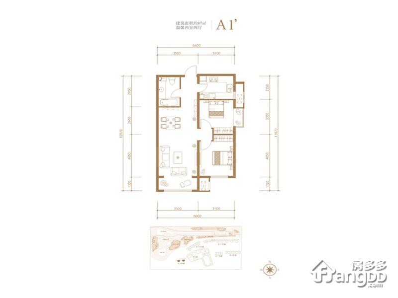 京投发展公园悦府2室2厅1卫户型图
