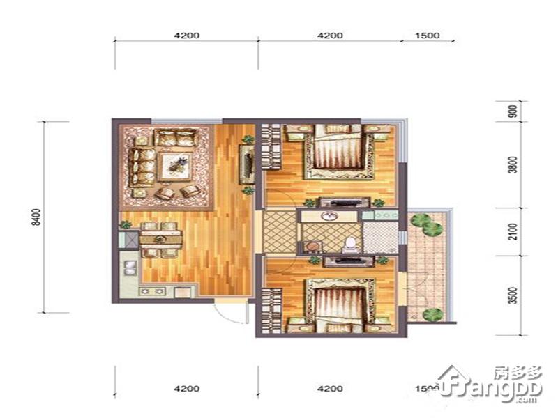 蔚蓝海岸2室2厅1卫户型图